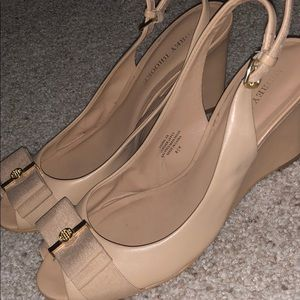 Audrey Brooke Adorable Nude Wedges with Bow